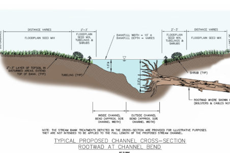 Proposed Stream & Floodplain Restoration - Project included bioengineered techniques such as rootwads
